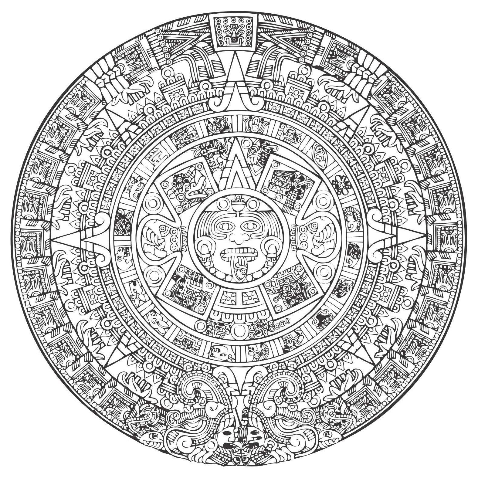 Aztec vector eps file. Calendar clipart sketch