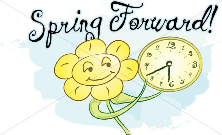 Forward with happy flower. Calendar clipart spring