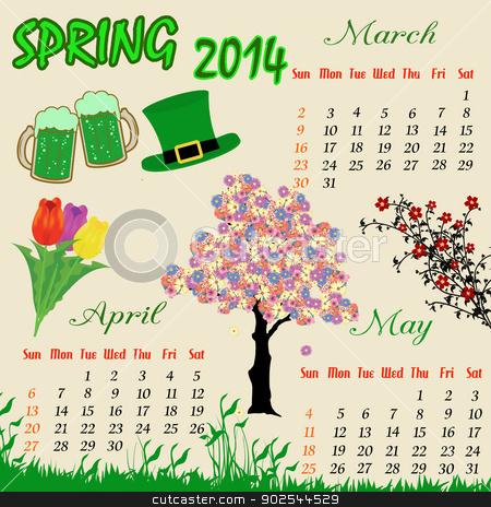 Calendar clipart spring. For stock vector