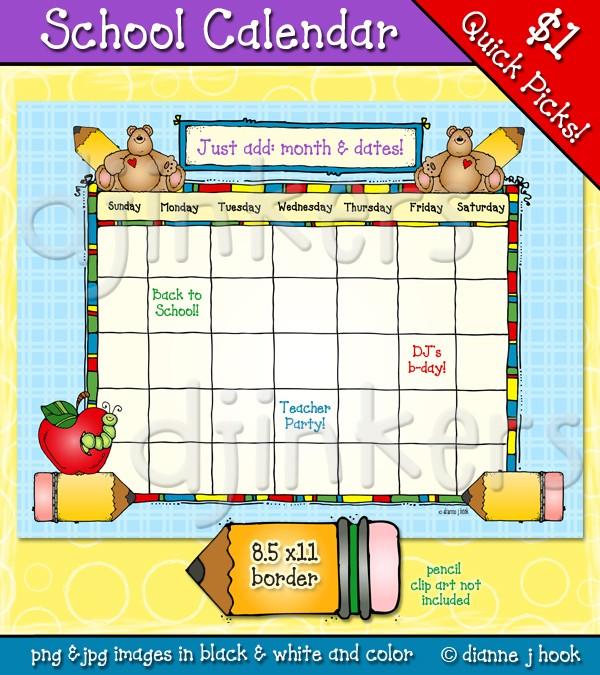 Calendar clipart teacher. Printable school clip art