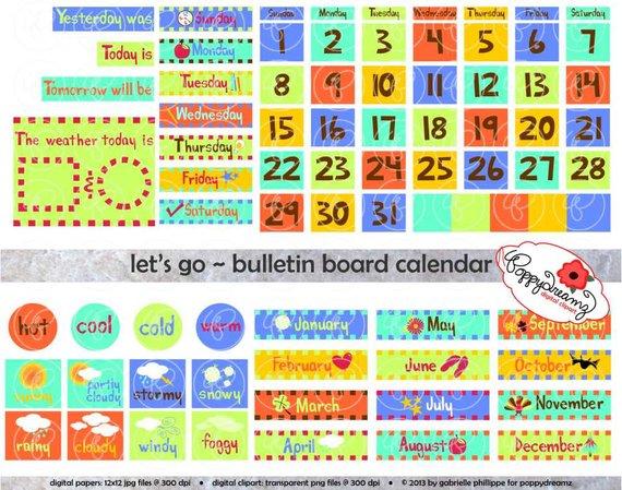 Let s go bulletin. Calendar clipart teacher