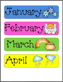 Printable months of year. Calendar clipart teacher