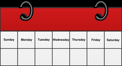 Calendar clipart weekly. Direct sales schedule super