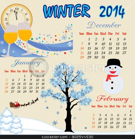 Stock vector for illustration. Calendar clipart winter
