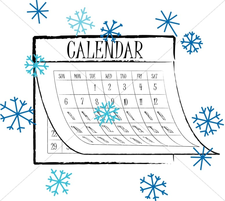 Calendar clipart winter. Black and white snowflake