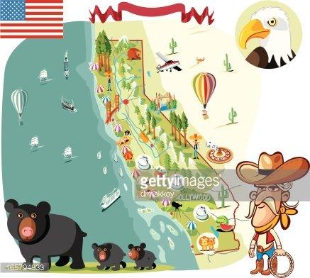 California clipart animated. Cartoon map of premium