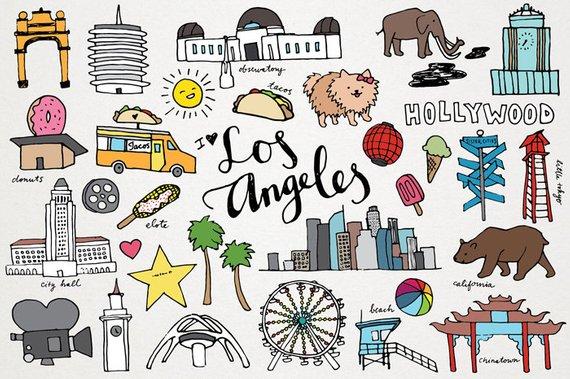 Los angeles la monuments. California clipart clip art