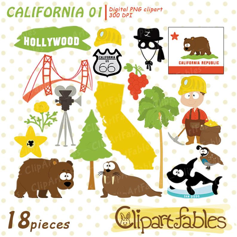 California clipart cute. State travel in the