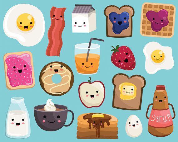 California clipart cute. Kawaii breakfast food vector