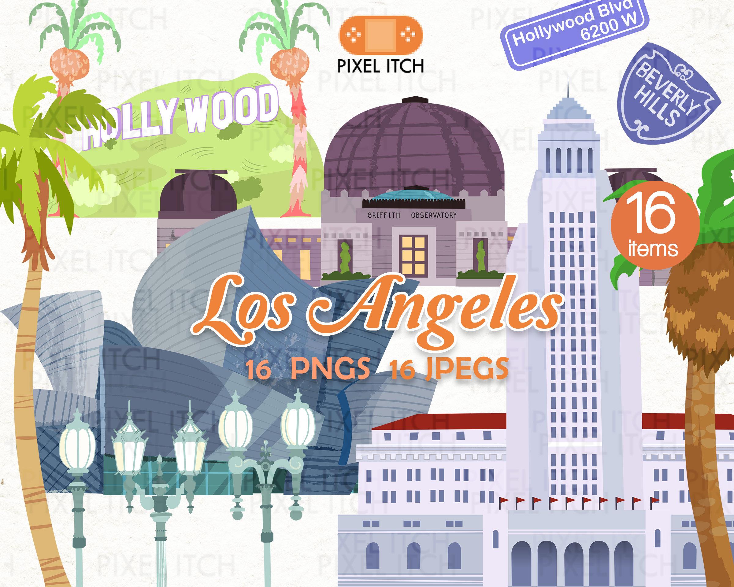 Los angeles hollywood la. California clipart landmark