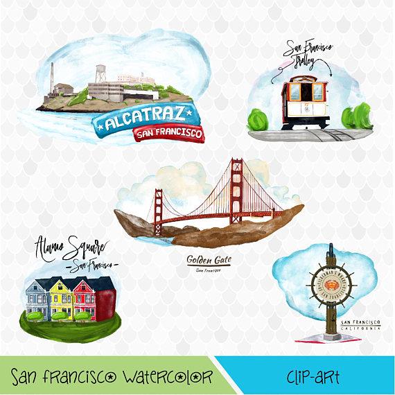 San francisco watercolor digital. California clipart landmark