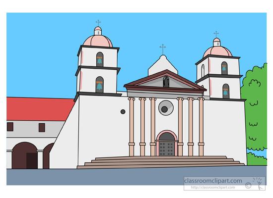 California clipart landmark. Mission santa barbara founded