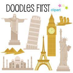Famous landmarks of the. California clipart landmark