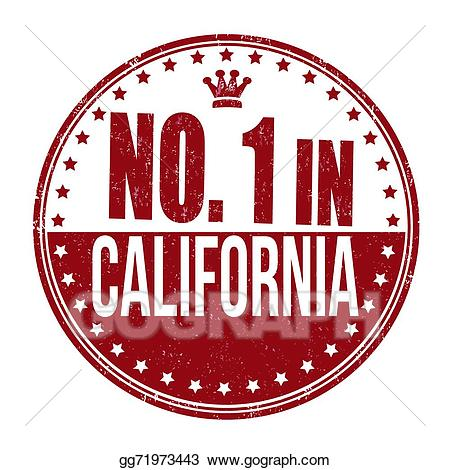 California clipart rubber stamp. Vector number one in
