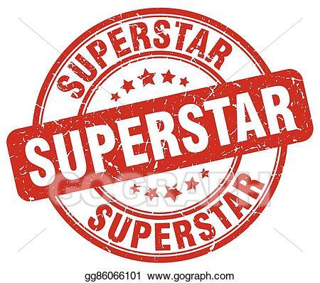 Vector art superstar red. California clipart rubber stamp