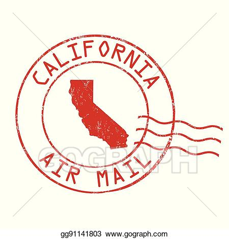 Vector stock post office. California clipart rubber stamp