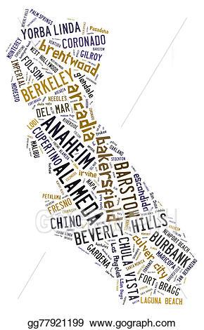 Stock illustration word cloud. California clipart shape