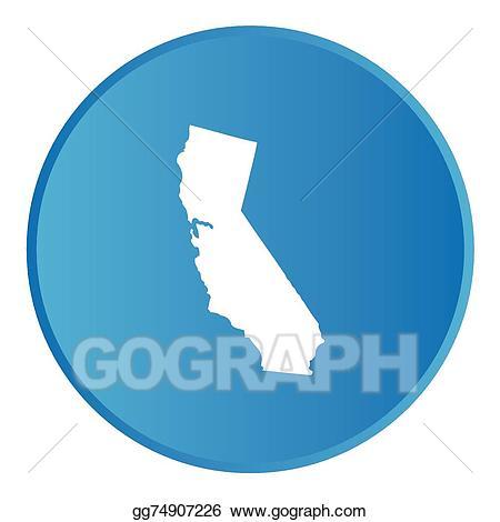 Vector art d button. California clipart shape