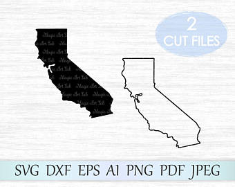 California clipart svg. Etsy state silhouette vector