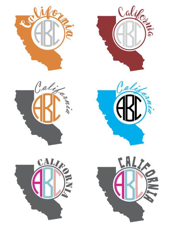 State monograms monogram frames. California clipart svg