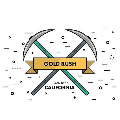California clipart template. Flat thin line gold