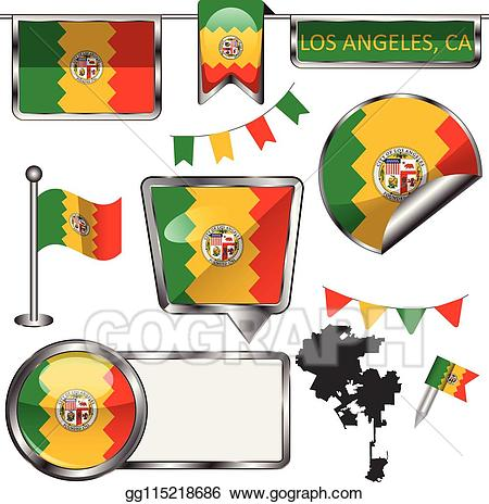 Stock glossy icons with. California clipart vector