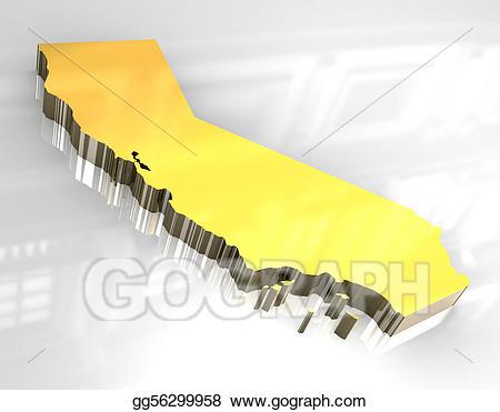 Stock illustration d golden. California clipart yellow