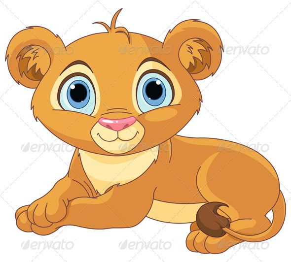 Resting little lion cub. Calm clipart animated