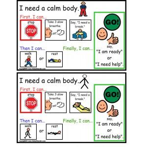 Calm clipart calm body. Autism cards