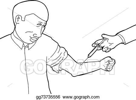 Vector being immunized illustration. Calm clipart calm man