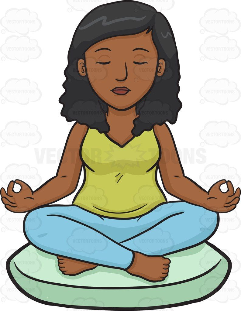 Calm clipart calm woman. A black meditating women
