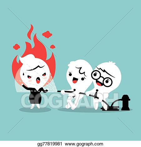 Calm clipart cartoon. Vector stock helping angry