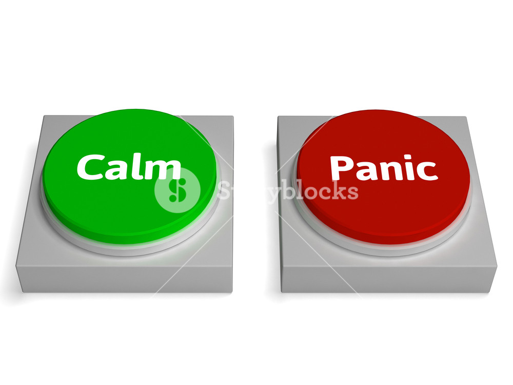 Calm clipart dont panic. Buttons show stressed or