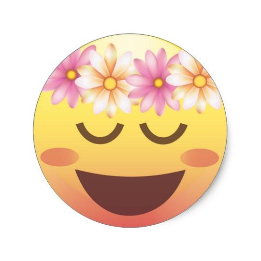 Calm clipart emoji. Flower crown happy face