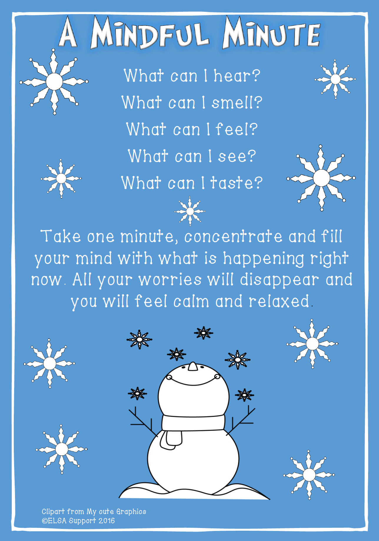 Mindful minute therapy print. Calm clipart healthy activity