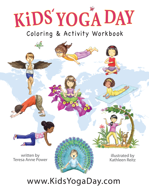 Store kids coloring activity. Calm clipart yoga day