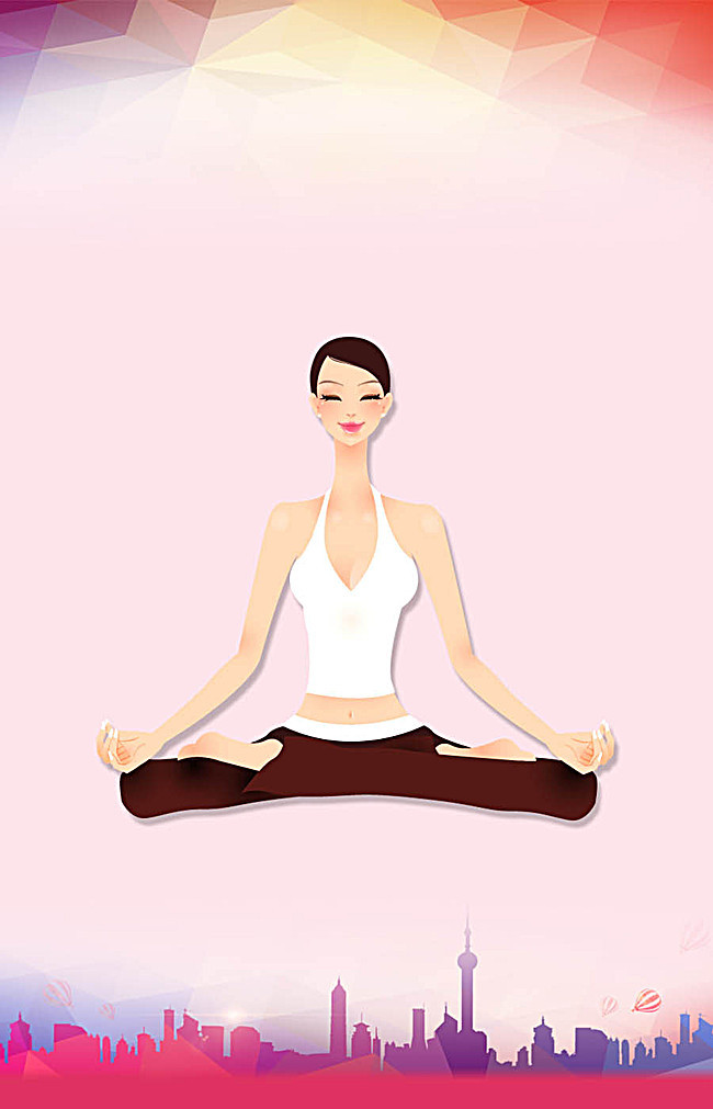 Training poster design flat. Calm clipart yoga instructor