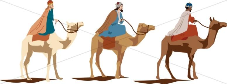 Three magi on camels. Camel clipart 3 camel