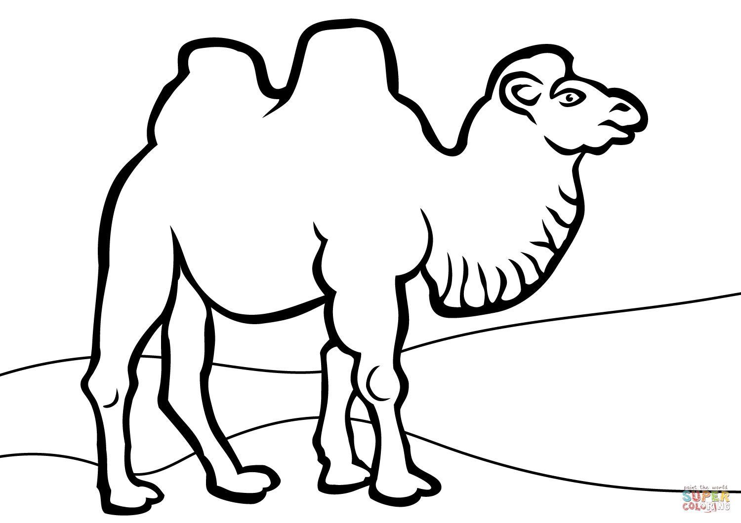Camel clipart bactrian camel. Coloring page free printable