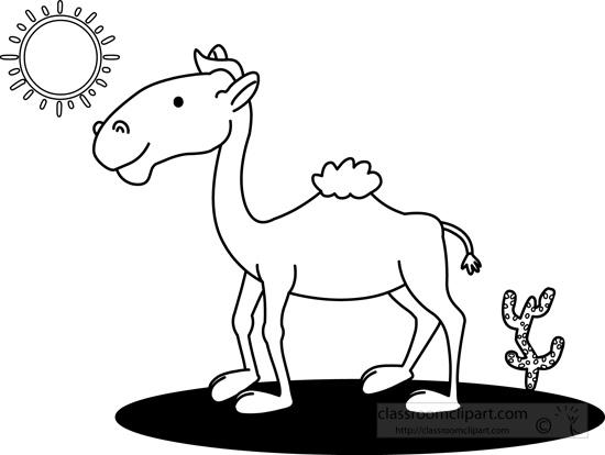 Camel clipart black and white. Animals in desert outline