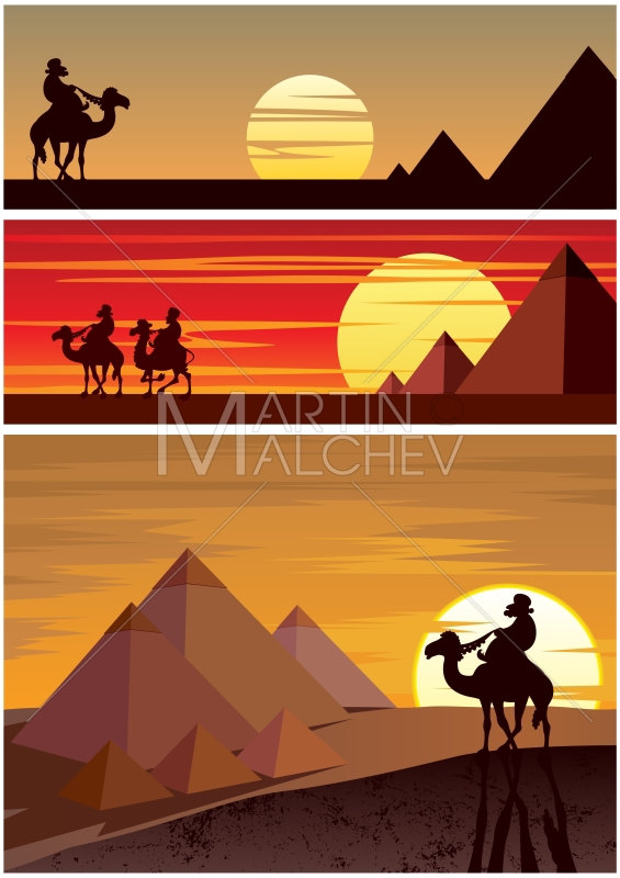 Camel clipart camel egyptian. Pyramids vector cartoon illustration