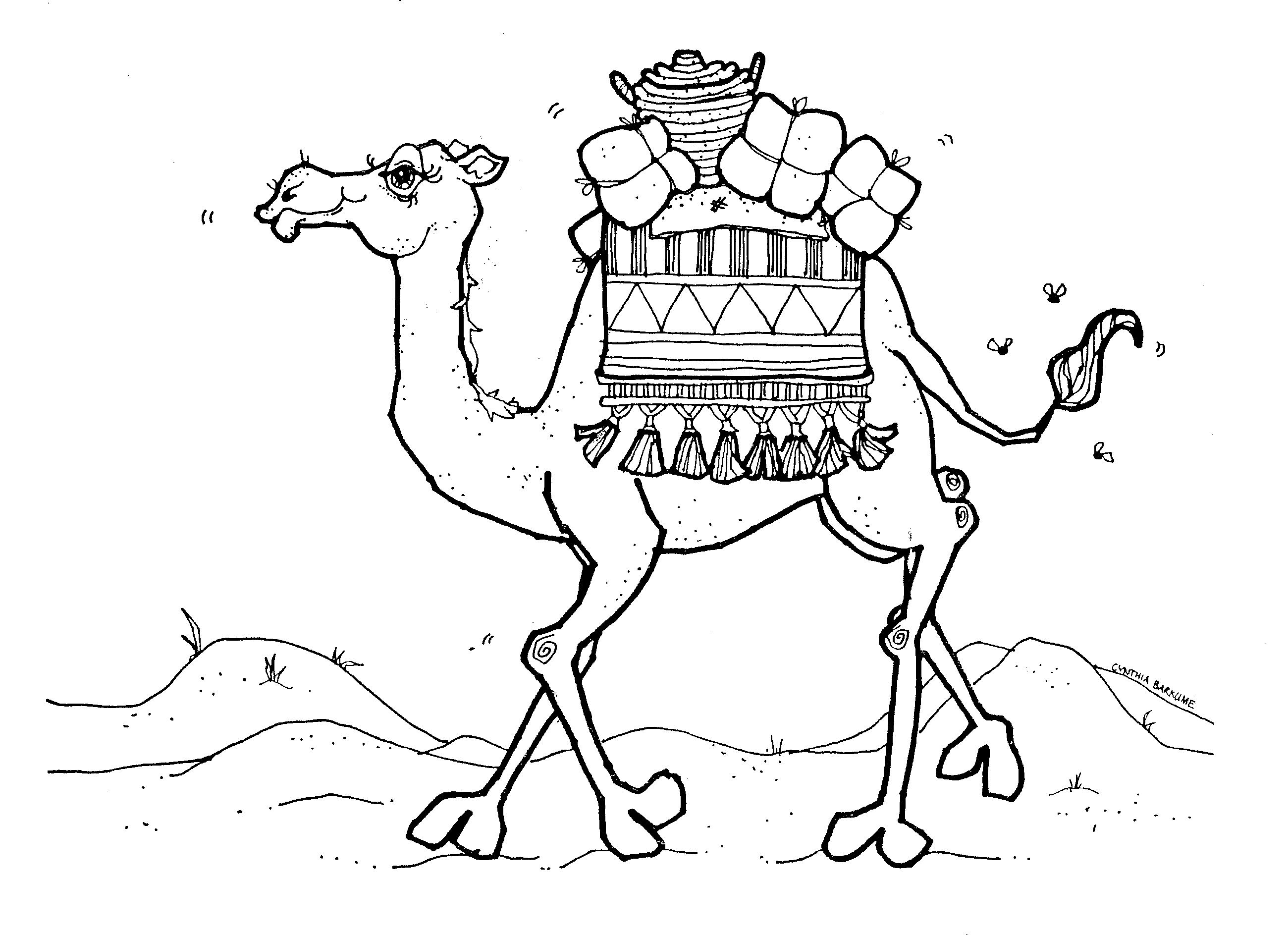Camel clipart colouring page. Sure fire pictures to