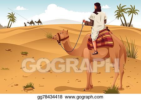 Vector stock riding camels. Desert clipart desert arabian