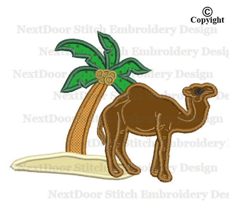 Embroidery applique design machine. Camel clipart palm tree