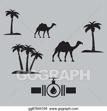 Camel clipart palm tree. Vector stock stylized icon
