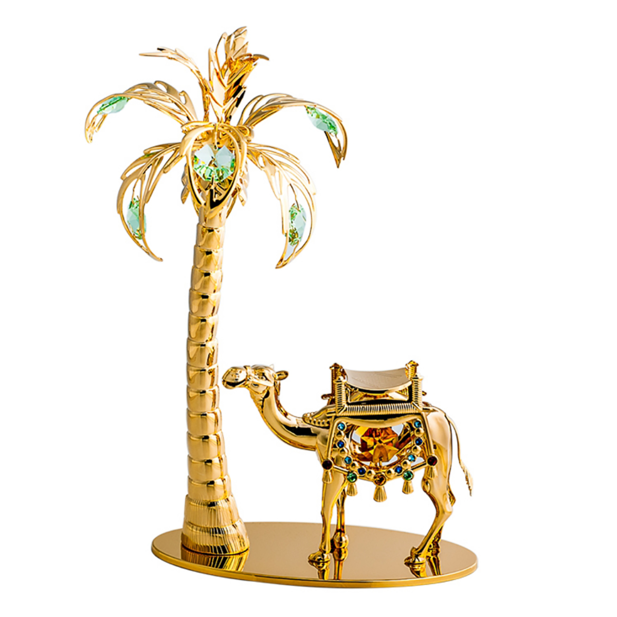 Camel clipart palm tree. Gold plated and