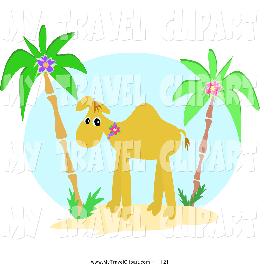 Camel clipart palm tree. Of a between trees
