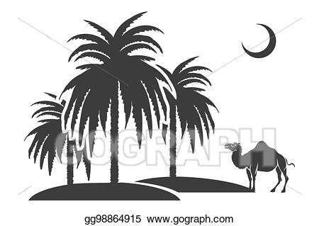 Vector stock trees and. Camel clipart palm tree