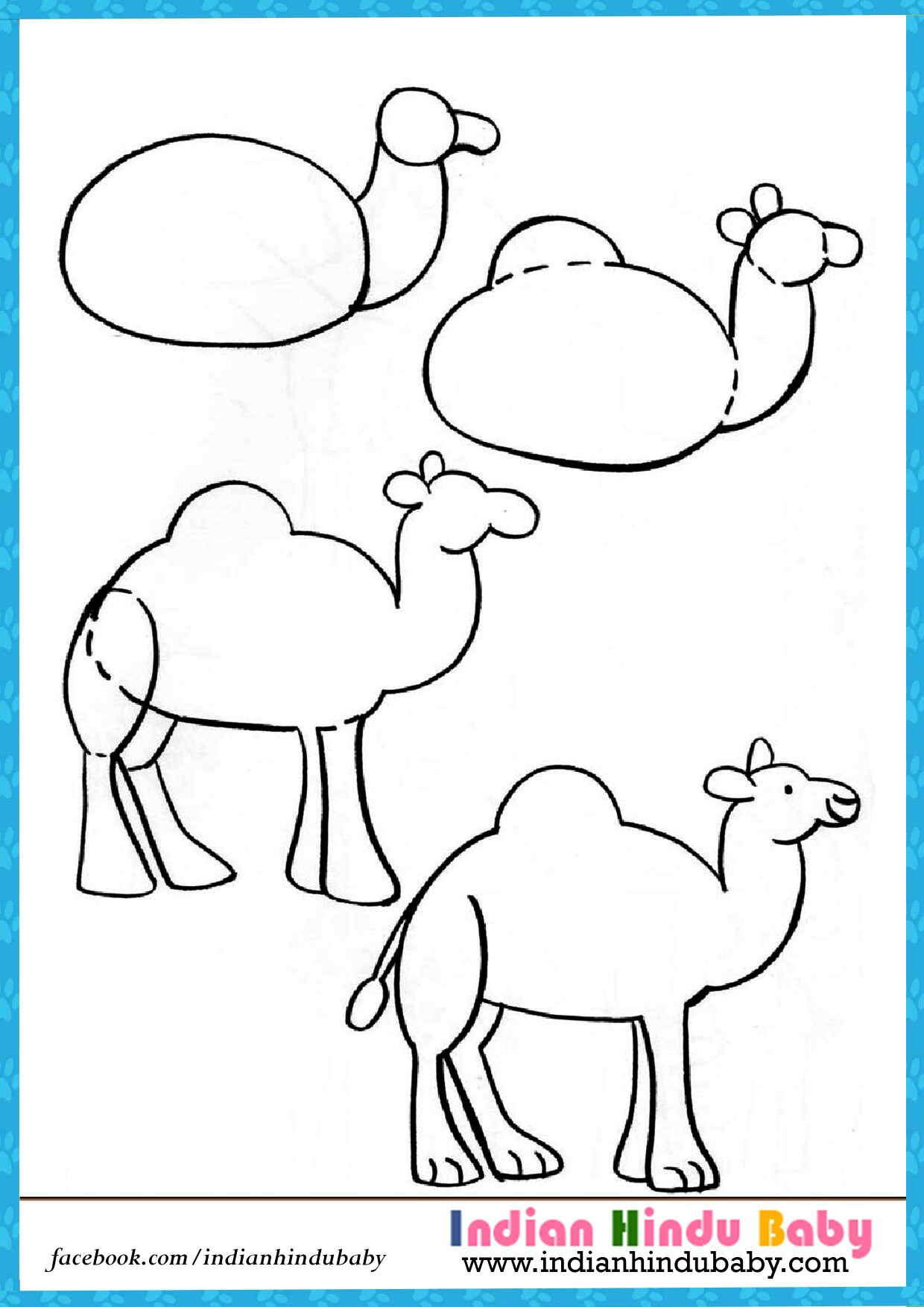 Camel clipart simple. Drawing for kid teach