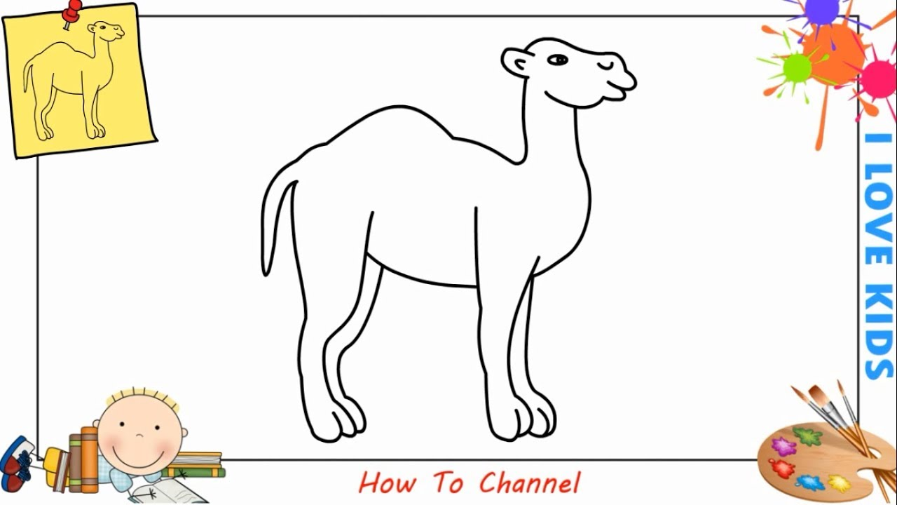 Camel clipart simple. How to draw a